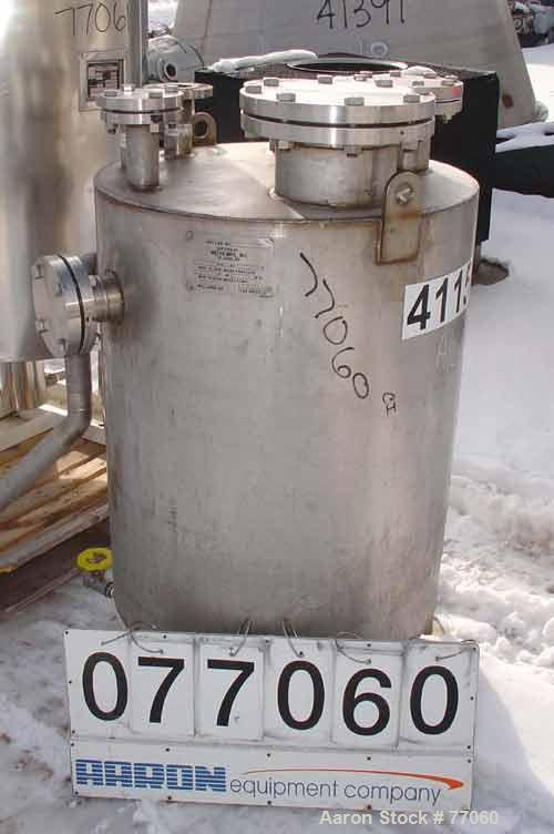 """USED:Metro tank, 110 gallon, stainless steel, vertical. 29-1/2""""diameter x 38"""" straight side. Flat top and bottom. Openings: ..."""