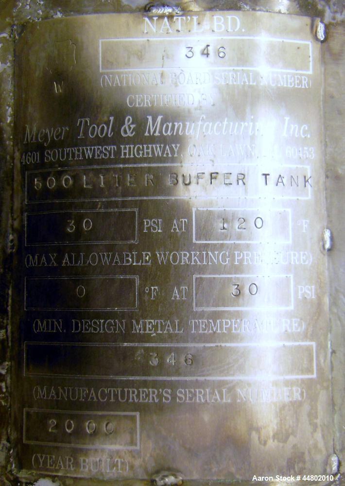 Used- 500 Liter Stainless Steel Meyer Tool & Manufacturing Pressure Tank