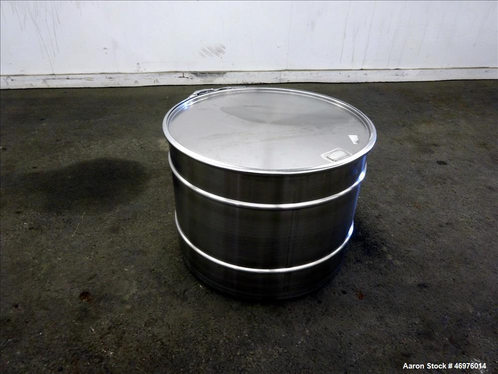 "Unused- MO Drum, 100 liters (26.4 Gallons), 304 Stainless Steel, Vertical. Approximate 22"" diameter x 16"" straight side. Fla..."