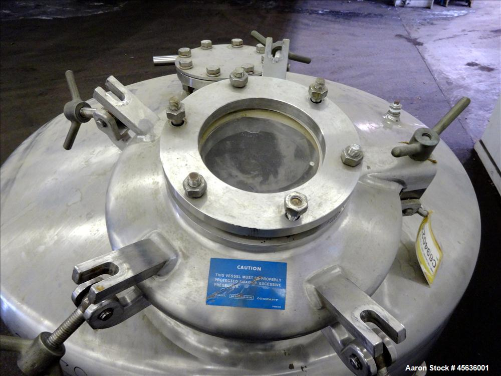 """Used- Mueller Pressure Tank, 150 Gallon, 316 Stainless Steel, Vertical. 48"""" Diameter x 16"""" straight side, dished top and bot..."""