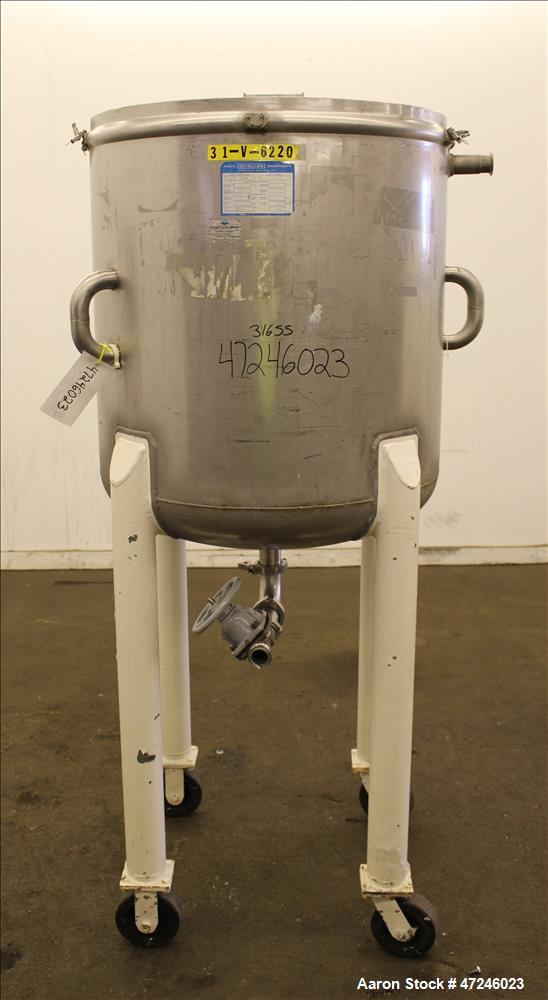 "Used- Mueller Tank, Model ""F"", 100 Gallon, 316 Stainless Steel, Vertical."