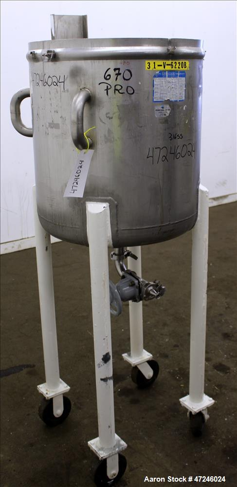 "Used- Mueller Tank, Model ""F"", 50 Gallon, 316 Stainless Steel, Vertical."