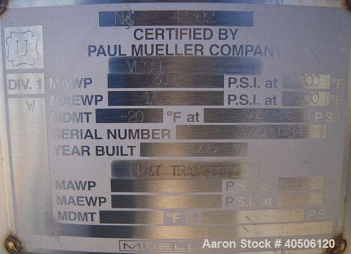 "Unused- Mueller Pressure Tank, 250 Gallon, Model ""F"", 304L Stainless Steel, Vertical. 42"" diameter x 47"" straight side, dish..."