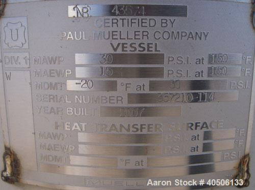 "Unused- Mueller Pressure Tank, 50 Gallon, Model ""F"", 304L stainless steel, vertical. 17 1/2"" diameter, 47"" straight side, di..."