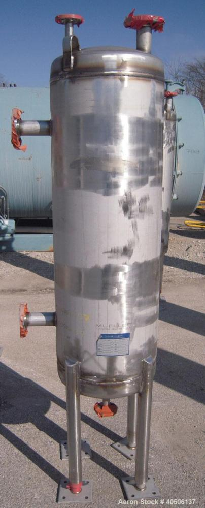"Unused- Mueller Pressure Tank, 50 Gallon, Model ""F"", 304L stainless steel, vertical. 17 1/2"" diameter 47"" straight side, dis..."
