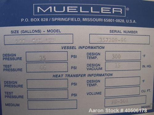 "Unused- Mueller Flash Drum Pressure Tank, 200 gallon, model ""F"", 304L stainless steel, vertical. 24'' diameter x 138'' strai..."