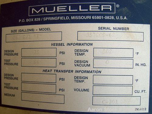 "Unused- Mueller Pressure Tank, 263 Gallon, model ""F"", 304L stainless steel,  vertical. 24"" diameter x 138"" straight side, di..."