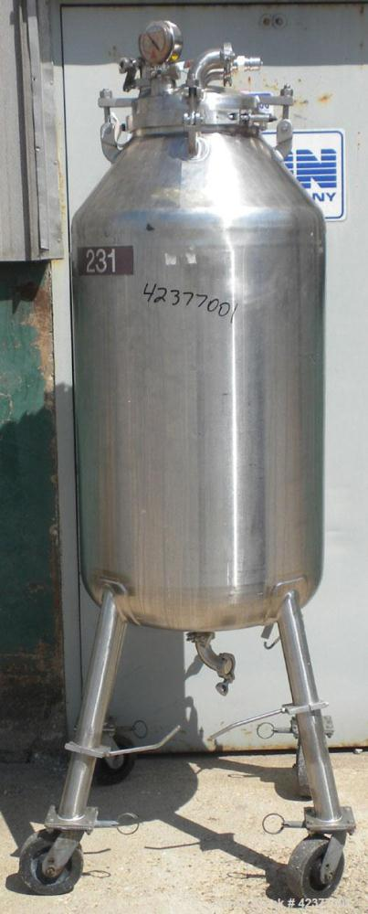"Used- Mueller Pressure Tank, 66 Gallon, model F, 316L stainless steel, vertical. 24"" Diameter x 32"" straight side, cone top,..."