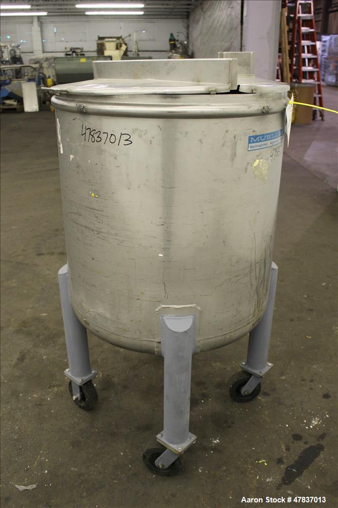 """Used- Mueller Tank, 378 Liter (99.8 Gallon), Model F, 316 Stainless Steel, Vertical. 30"""" Diameter x 29"""" straight side, open ..."""