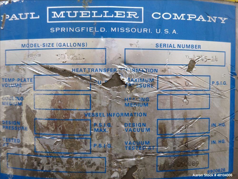 Used- Mueller Tank, Model F, 50 Gallon, 316 Stainless Steel, Vertical.