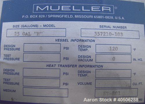 """25 Gallon Stainless steel Mueller Tank, Model """"H"""""""