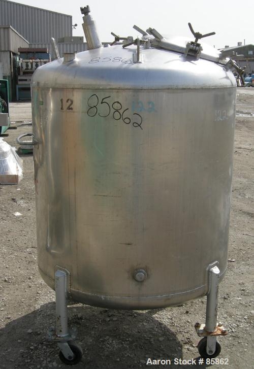 """USED: Mueller pressure tank, 300 gallon, 304 stainless steel, vertical. 44"""" diameter x 42"""" straight side, dished top and bot..."""