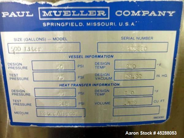 Used- 500 Liter Stainless Steel Paul Mueller Company Tank