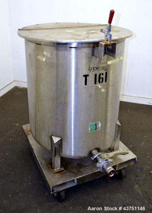 """Used- Water Cooling Corporation Tank, 100 Gallon, 304 Stainless Steel, Vertical. Approximate 31"""" diameter x 34"""" straight sid..."""