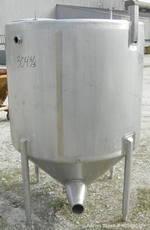 "Used- W.H.E. Bio-Systems Tank, 325 gallon, 304 stainless steel, vertical. 48 1/2"" diameter x 40"" straight side, flat top, co..."
