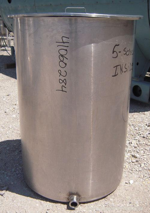 """Used- Tank/Drum, 70 Gallon, 316 Stainless Steel, Vertical. 24"""" diameter x 36"""" deep, flat open top with a cover, flat bottom...."""