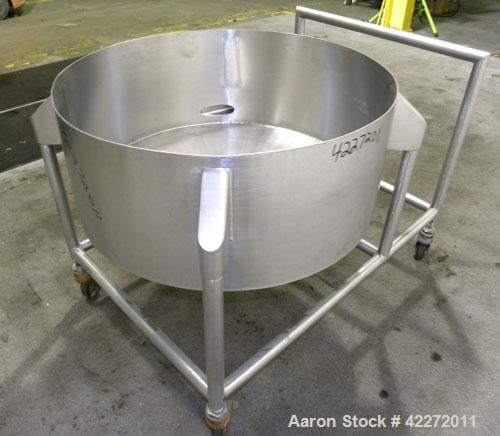 "Used- Tank, Approximate 40 Gallon, 316 stainless steel, vertical. 32"" diameter x 12"" straight side. Open top, no cover, cone..."