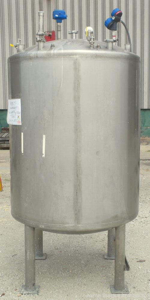 """Used- Tank, 440 Gallon, 304 Stainless Steel, Vertical. 48"""" Diameter x 52"""" straight side, dished top and bottom. Openings: to..."""