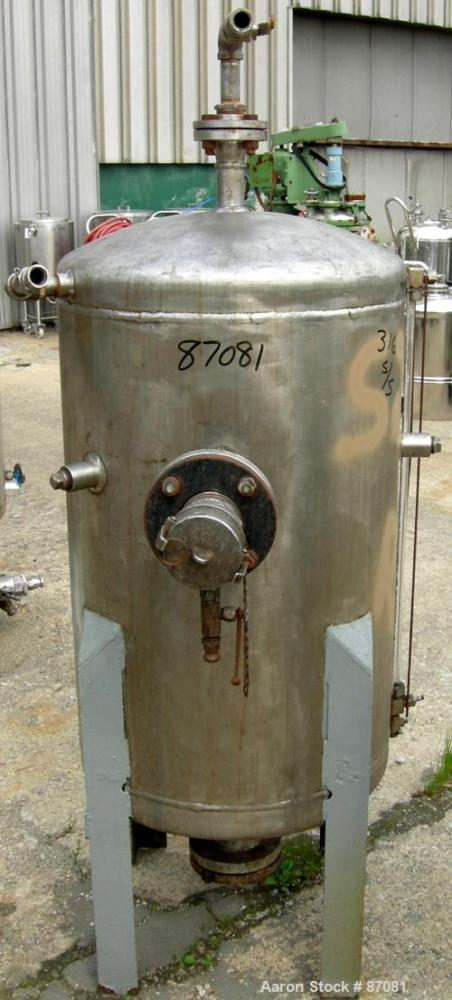 """Used- Tank, 75 Gallon, 316 Stainless Steel, Vertical. 24"""" Diameter x 36"""" straight side. Dished top and bottom. Openings: top..."""
