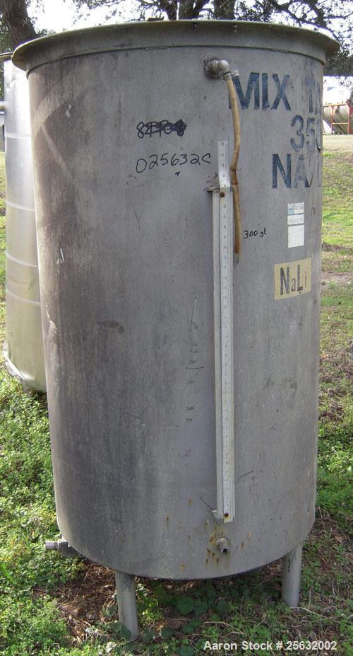 "Used- Tank, 260 Gallon, Stainless Steel, Vertical. 35"" diameter x 60"" straight side. Flat top, no cover, dish bottom. 1-1/2""..."