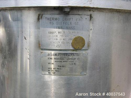 """Used- Thermo Craft Tank, 65 gallon, stainless steel, vertical. 26"""" diameter x 33"""" straight side, open top with a 2 piece cov..."""