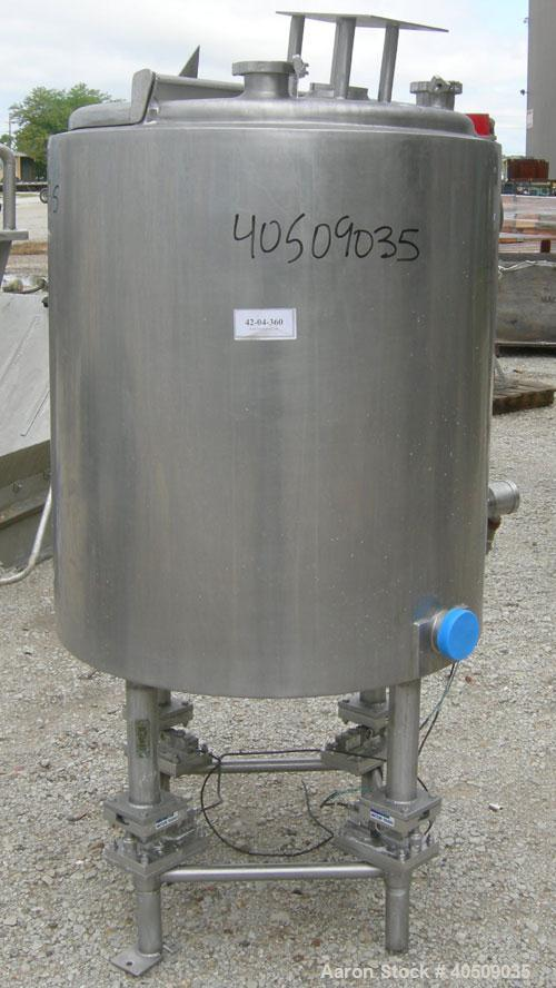 """Used- Tank, 100 gallon, 321 stainless steel, vertical. 30"""" diameter x 35"""" straight side. Flat top with 1/2 hinged cover, slo..."""