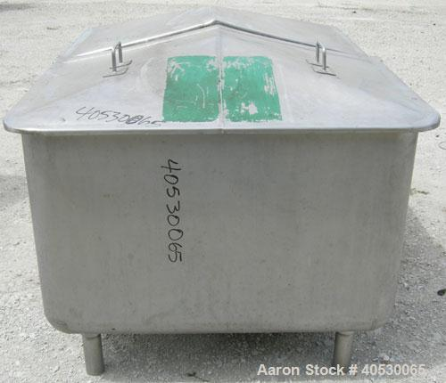 "Used - Tank, 300 gallon, 304 stainless steel, rectangular. 42"" wide x 60"" long x 28"" deep. Open top with (2) removable cover..."