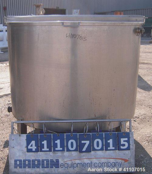 "Used- Tank, Approximately 400 Gallon, 304 Stainless Steel, Vertical. 57"" diameter x 38"" striaght side. Flat top with 2 piece..."