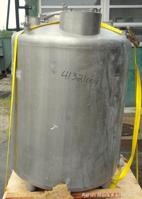 "Used- Tank, 375 Gallon, 304 Stainless Steel, Vertical. Approximately 46"" diameter x 48"" straight side, dish top and bottom. ..."