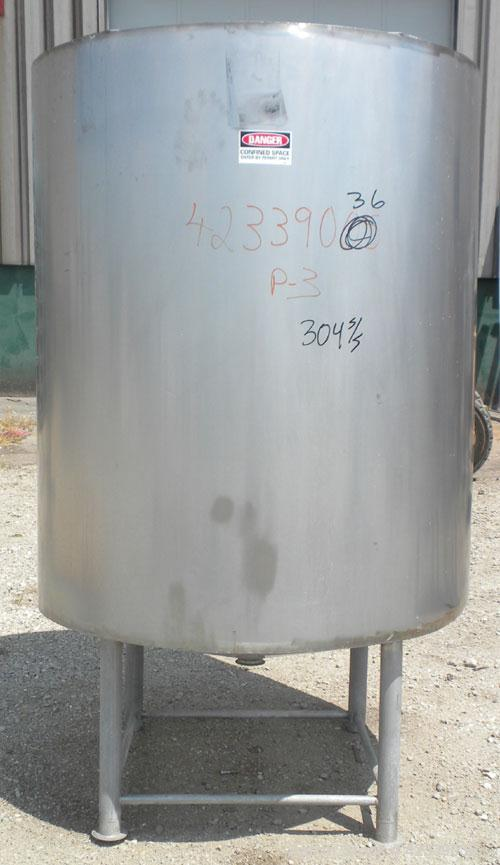 "Used- Tank, Approximately 450 Gallon, 304 Stainless Steel, Insulated, Vertical. 45"" Diameter x 60"" straight side, open top, ..."