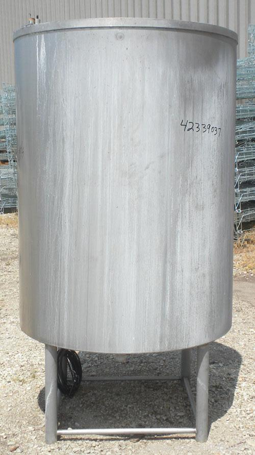 "Used- Tank, Approximate 450 Gallon, 304 Stainless Steel, Vertical. 45"" Diameter x 60"" straight side, open top, no cover, sli..."