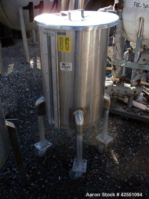 """Used- Tank, 30 Gallon, Stainless Steel. Approximate 18"""" diameter x 28"""" straight side, open top with cover, dished bottom, 1""""..."""