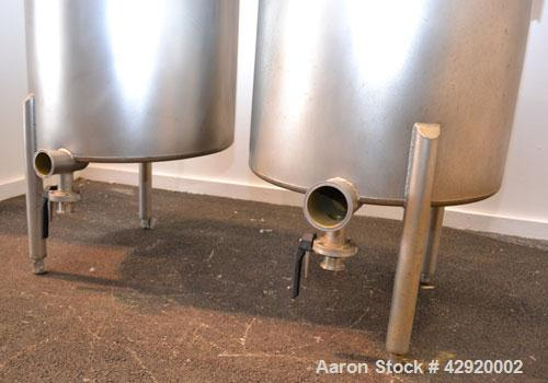 Used- Dual Holding Tank, Approximately 200 Total Gallon, 304 Stainless Steel, Vertical. Consisting of (2) 30'' diameter x 24...