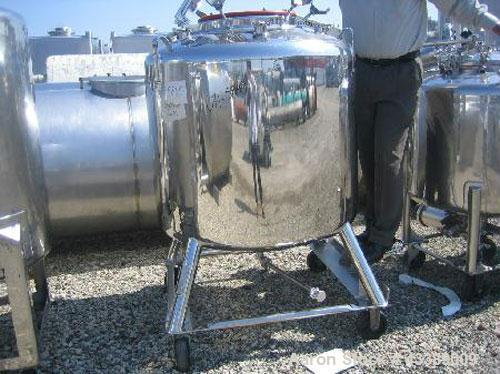 "Used- Tank, Approximately 155 Gallon, Electropolished Stainless Steel. 40"" Diameter x 28"" straight side. 18"" Bolted top, 2"" ..."