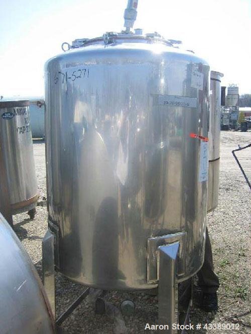 """Used- Tank, Approximate 160 Gallon, Electropolished Stainless Steel. 32"""" Diameter x 38"""" straight side. 18"""" Bolted top, 2"""" bo..."""