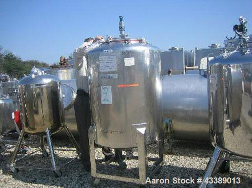 "Used- Tank, Approximate 110 Gallon, Electropolished Stainless Steel. 32"" Diameter x 38"" straight side. 18"" Bolted top, 2"" bo..."