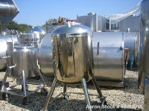 "Used- Tank, Approximately 50 Gallon, Electropolished Stainless Steel. 24"" Diameter x 22"" straight side. Dished heads. 1"" Bot..."