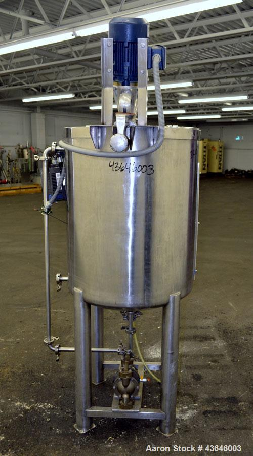 "Used- Tank, 90 Gallon, 304 Stainless Steel, Vertical. Approximate 28"" diameter x 32"" straight side. Flat top with a  hinged ..."