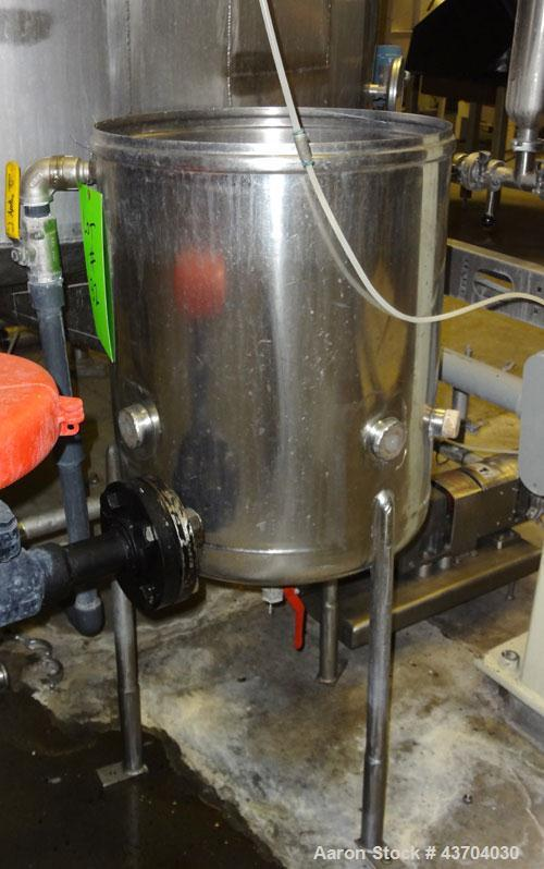 "Used- Tank, 20 Gallon (75 liter), Stainless Steel. Approximate 17.5"" diameter x 20"" straight side. Open top, no cover, dishe..."