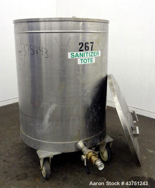 """Used- Tank, 200 Gallon, 316 Stainless Steel, Vertical.  Approximately 38"""" diameter x 47"""" straight side.  Open top with a 1 p..."""