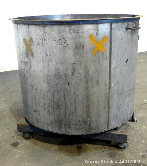 """Used- Tank, 400 Gallons, 301 Stainless Steel, Vertical. Approximate 54"""" diameter x 42"""" straight side, open top, no cover, sl..."""