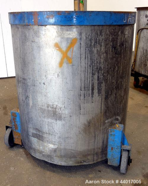 """Used- Tank, 400 Gallons, 304 Stainless Steel, Vertical. Approximate 49"""" diameter x 51"""" straight side, open top, no cover, sl..."""