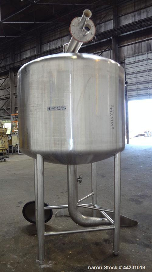 "Used- Tank, 450 Gallon, 304 Stainless Steel, Vertical. Approximate 60"" diameter x 36"" straight side, dished top and bottom. ..."