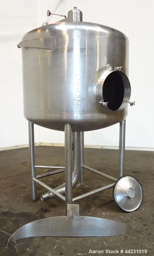 """Used- Tank, 450 Gallon, 304 Stainless Steel, Vertical. Approximate 60"""" diameter x 36"""" straight side, dished top and bottom. ..."""