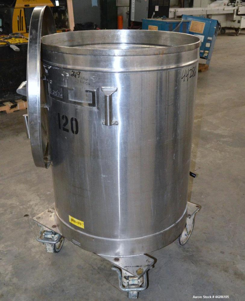 """Used- Tank, 100 Gallon, 304 Stainless Steel, Vertical. Approximate 31"""" diameter x 38"""" straight side. Open top with a 1 piece..."""