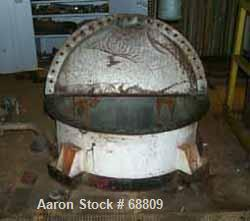 """Used- Stainless steel tank, 350 gallon, 42"""" diameter x 55"""" straight side. Flat open top with cover, dish bottom, lug mounted."""