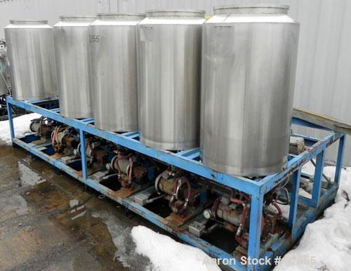 "Used- Multi Tank Feed System Consisting Of: (5) 75 Gallon 304 stainless steel tanks, 24"" diameter x 36"" straight side. Open ..."