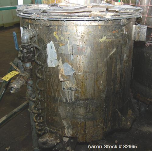 """Used- Tank, 300 Gallon, Stainless Steel, Vertical. 48"""" diameter x 48"""" straight side. Open top, sloped bottom. Approximately ..."""