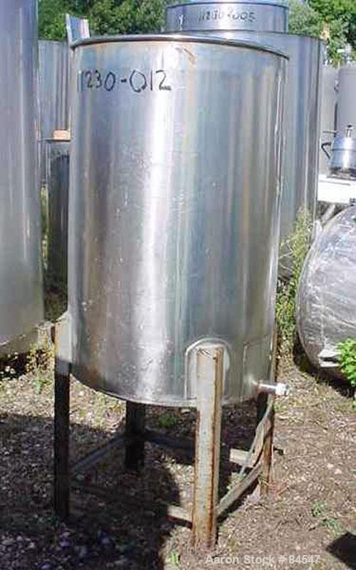 """Used- Tank, 50 Gallon, Stainless Steel, Vertical. 22"""" diameter x 34"""" straight side. Open top, flat bottom. Mounted on four l..."""