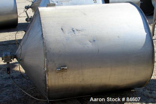 """Used- Tank, 350 Gallon, 304 Stainless Steel, Vertical. 44"""" diameter x 47"""" straight side. Open top, no cover, coned bottom. 2..."""